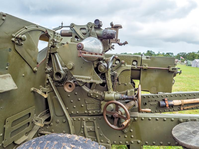 Royal Ordnance 25 pounder field gun. A close-up of a World War Two British 25 pounder field gun showing the telescopic sight, dial sight and other controls for stock photos