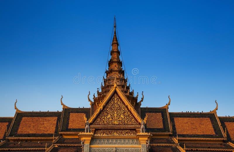Royal Palace και ασημένια παγόδα (η αίθουσα θρόνων), Πνομ Πενχ, αριθ. στοκ εικόνες