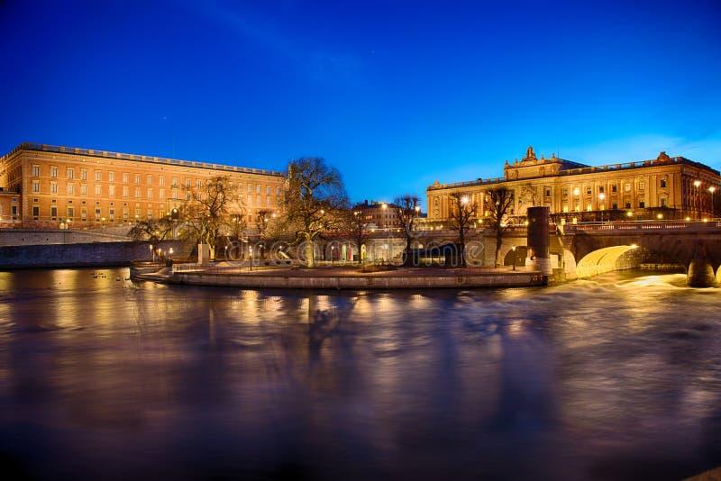Royal Palace και σπίτι του Κοινοβουλίου στη Στοκχόλμη στοκ φωτογραφίες