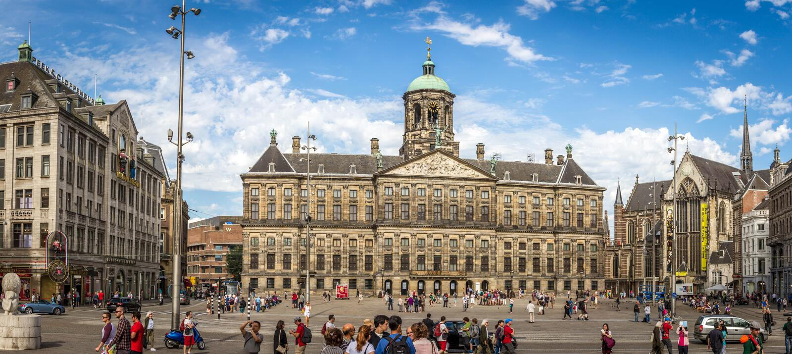 The Royal palace in Amsterdam. Royal Palace at Dam square. It is one of three palaces in the Netherlands which is at the disposal of Queen Beatrix by Act of stock photos