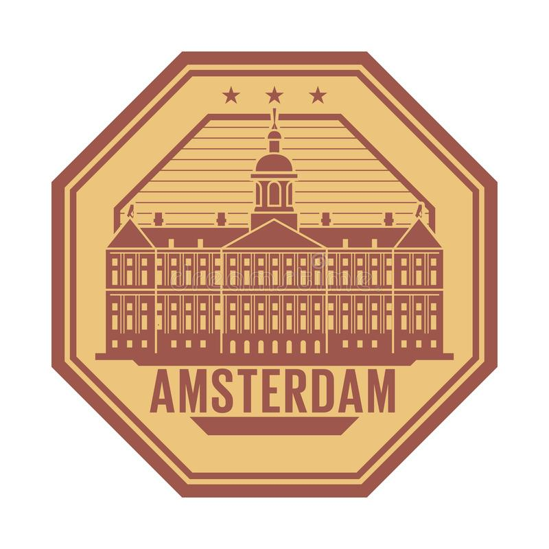 Royal Palace, Amsterdam, holandie znaczek ilustracja wektor