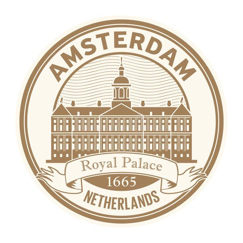 Royal Palace Amsterdam, Nederländerna stämplar vektor illustrationer