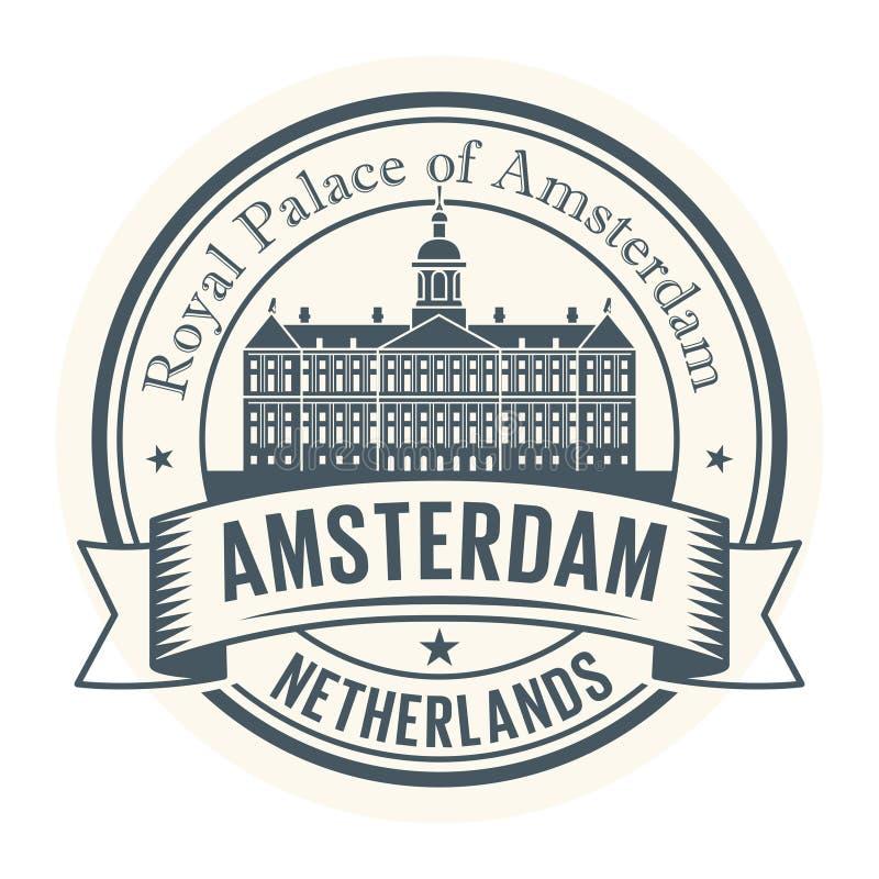 Royal Palace Amsterdam, Nederländerna stämplar stock illustrationer