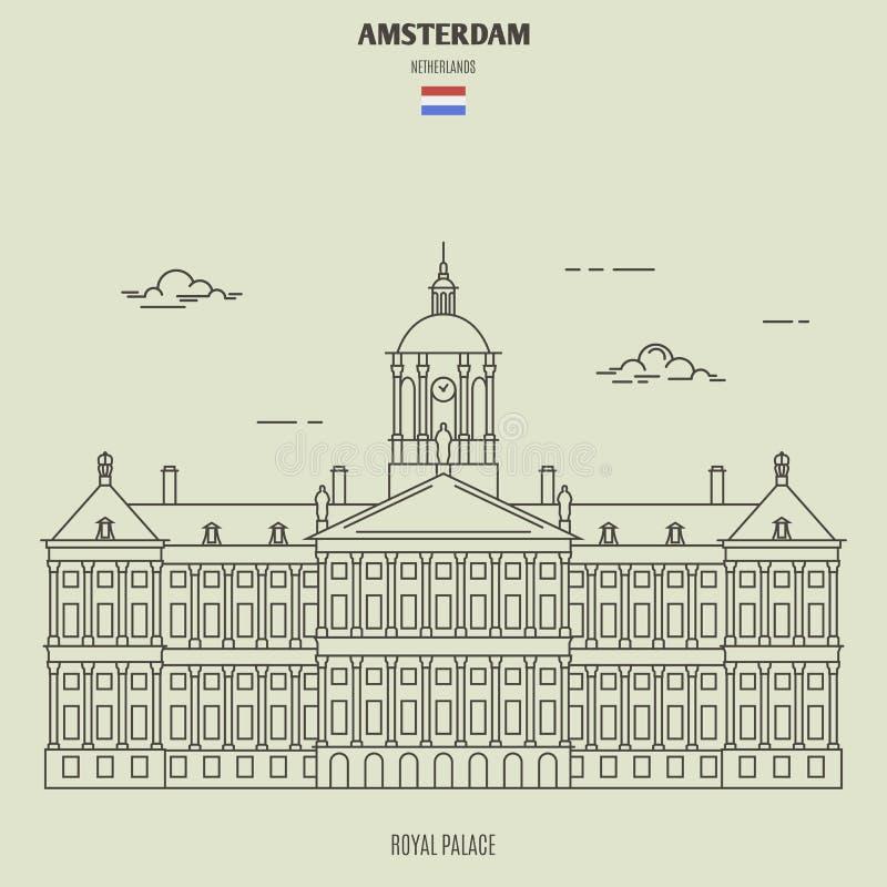 Royal Palace in Amsterdam, Nederland Oriëntatiepuntpictogram royalty-vrije illustratie