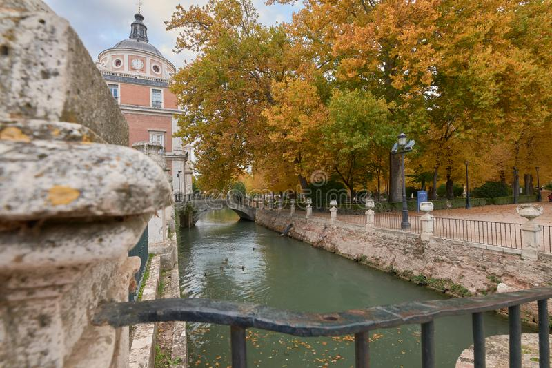 The Royal Palace of Aranjuez and the Tajo river royalty free stock photo