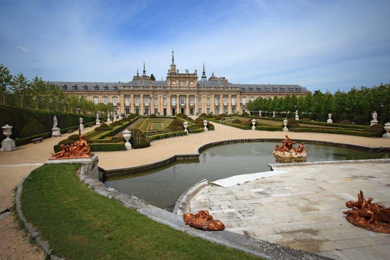 Royal Palace bij La Granja DE San Ildefonso in Segovia provincie, Spanje stock foto's