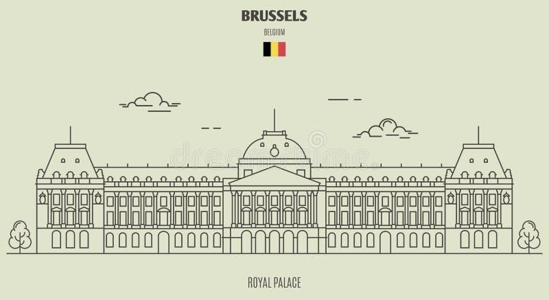 Royal Palace in Brussel, België Oriëntatiepuntpictogram vector illustratie
