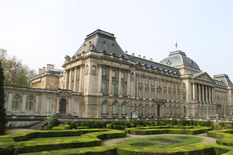 Royal Palace of Brussels. The official palace of the King and Queen of the Belgians in the centre of the nation`s capital Brussels. Construction started in stock image