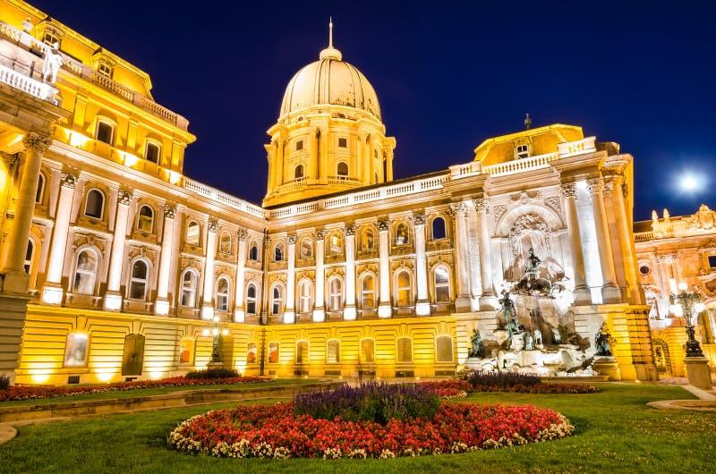 Royal Palace of Buda in night, Budapest royalty free stock image