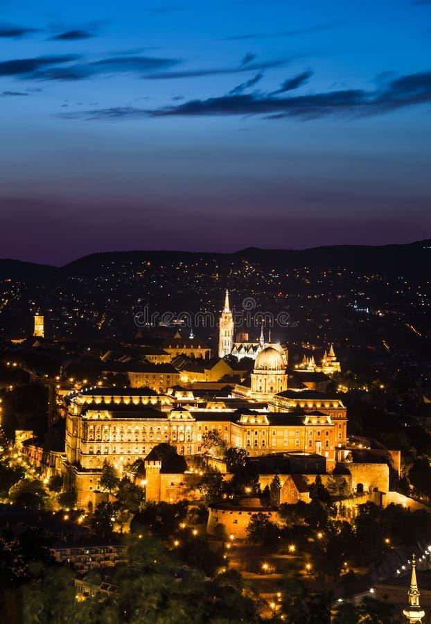 Royal Palace of Buda in night, Budapest stock photos