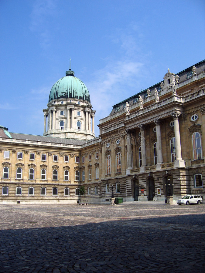 The Royal Palace - Budapest, Hungary. The easily defendable position on the western bank of the Danube River in Budapest was chosen the site of the Royal Palace royalty free stock images