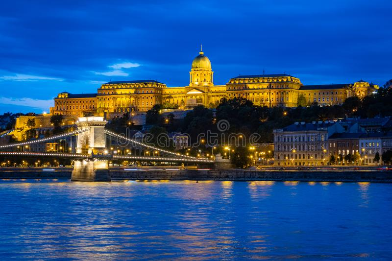 Royal Palace in Budapest at night royalty free stock photography