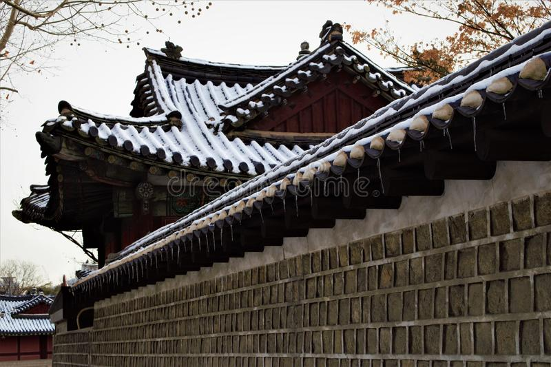 Royal Palace Changgyeonggung im Winter, Seoul, Korea stockfotos