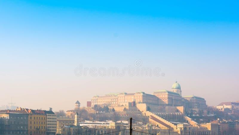 Royal Palace de Buda à l'hiver - Budapest, Hongrie images libres de droits
