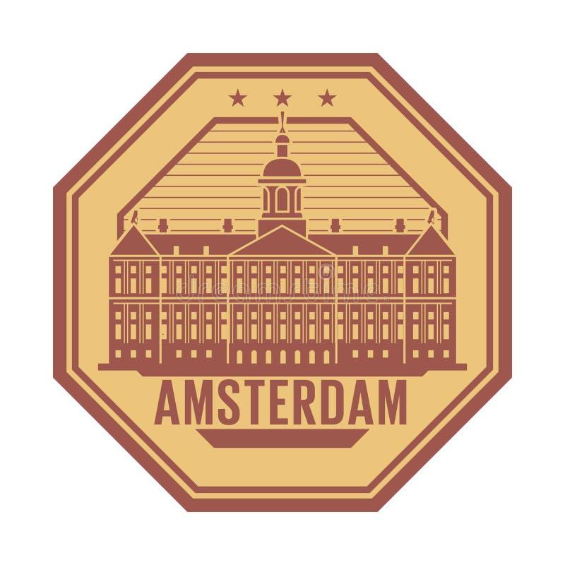 Royal Palace, de zegel van Amsterdam, Nederland vector illustratie