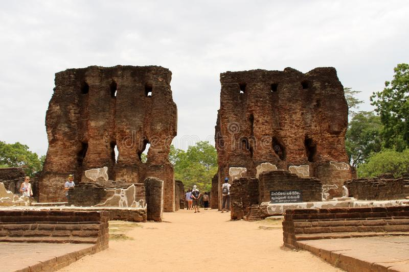Royal Palace di re Parakramabahu in Polonnaruwa il Ancien immagini stock