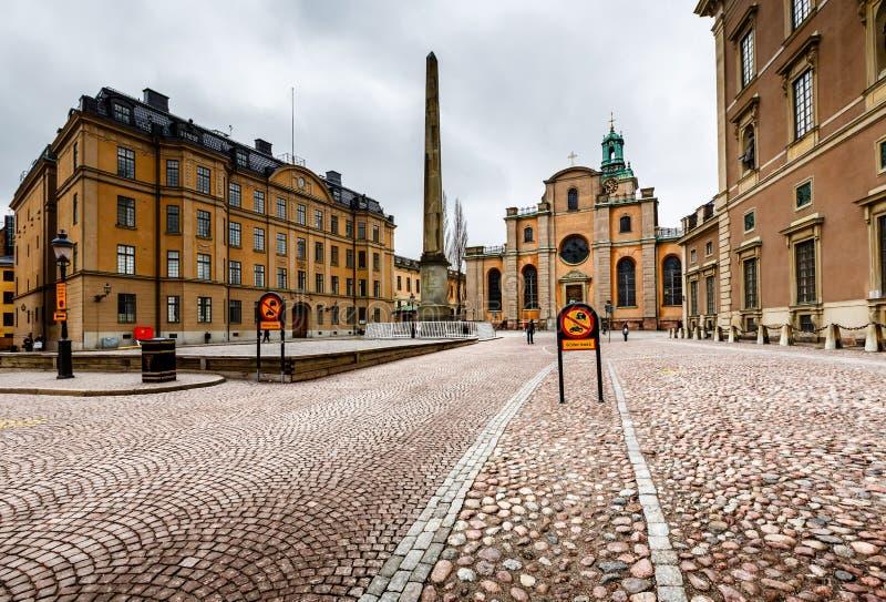 Royal Palace e catedral da São Nicolau (Storkyrkan) foto de stock