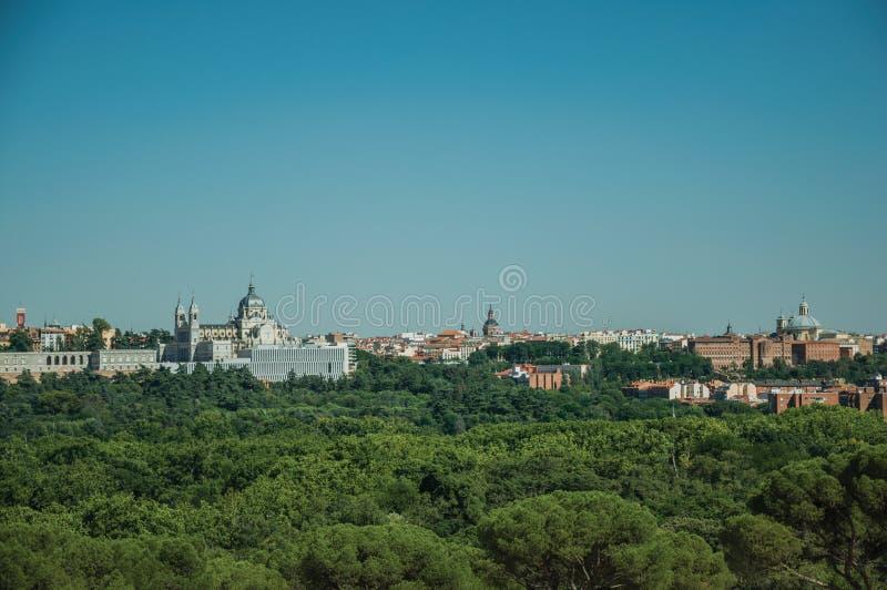 Royal Palace en Almudena Cathedral met bomen in Madrid royalty-vrije stock fotografie