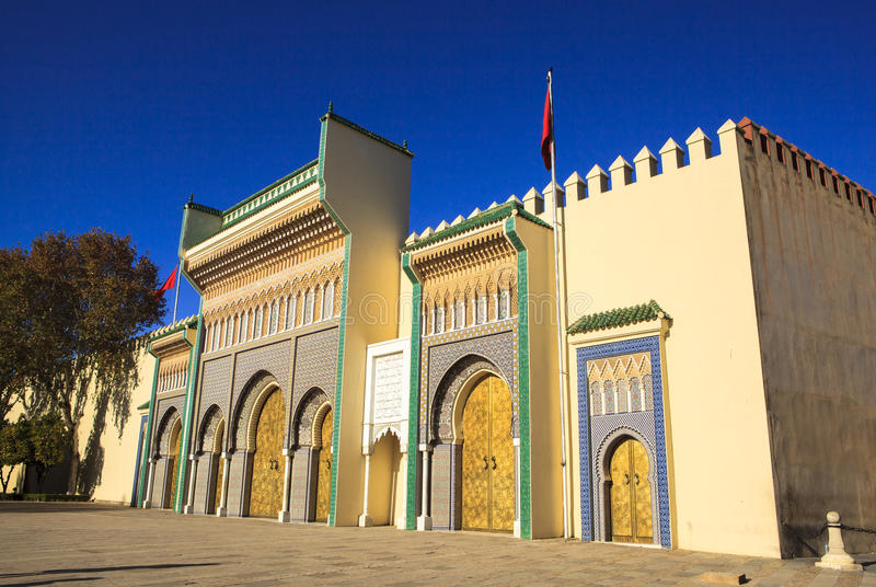 Royal Palace in Fes, Morocco. The Royal Palace comprises of 80 hectares of land and the Palace compound includes beautiful gardens, mosques and also an ancient stock images