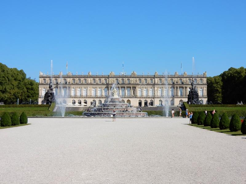 Royal Palace of Herrenchiemsee with fontains - Bavarian Versailles – Germany. Herrenchiemsee - Royal Palace with fountains - Neo-Baroque style - New royalty free stock images