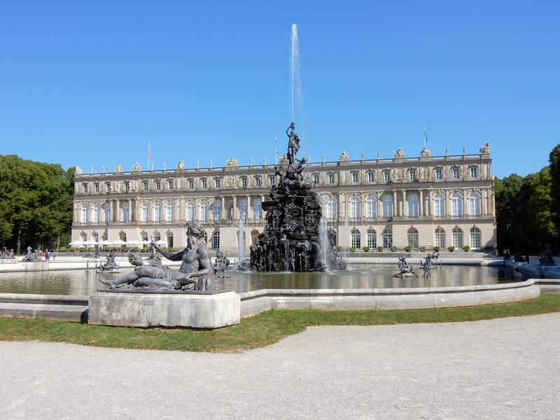 Royal Palace of Herrenchiemsee with fontains - Bavarian Versailles – Germany. Royal Palace of Herrenchiemsee - Neo-Baroque style - New palace of King royalty free stock images