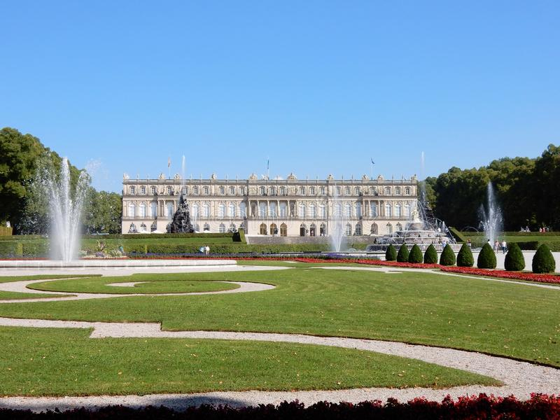 Royal Palace of Herrenchiemsee - New Palace - Bavarian Versailles – Germany. Royal Palace of Herrenchiemsee - Neo-Baroque style - New palace of King royalty free stock image