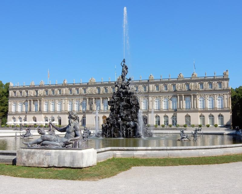 Royal Palace of Herrenchiemsee - New Palace with fontains, sculptures – Germany. Royal Palace of Herrenchiemsee - Neo-Baroque style - New palace of King stock photos