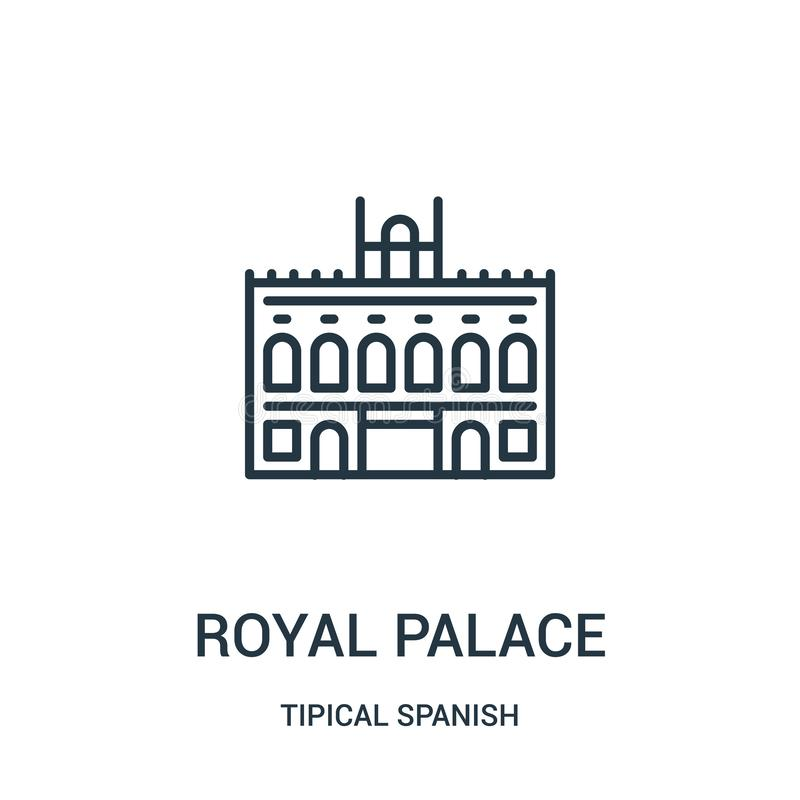 royal palace icon vector from tipical spanish collection. Thin line royal palace outline icon vector illustration. Linear symbol stock illustration