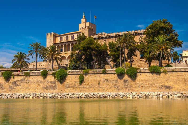 Royal Palace of La Almudaina, Palma de Mallorca. Royal Palace of La Almudaina in Parc de la Mar, Palma de Mallorca photographed in August 2013 stock photos