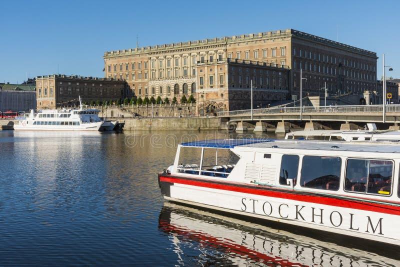 Royal Palace lata pogodny ranek Sztokholm obraz stock