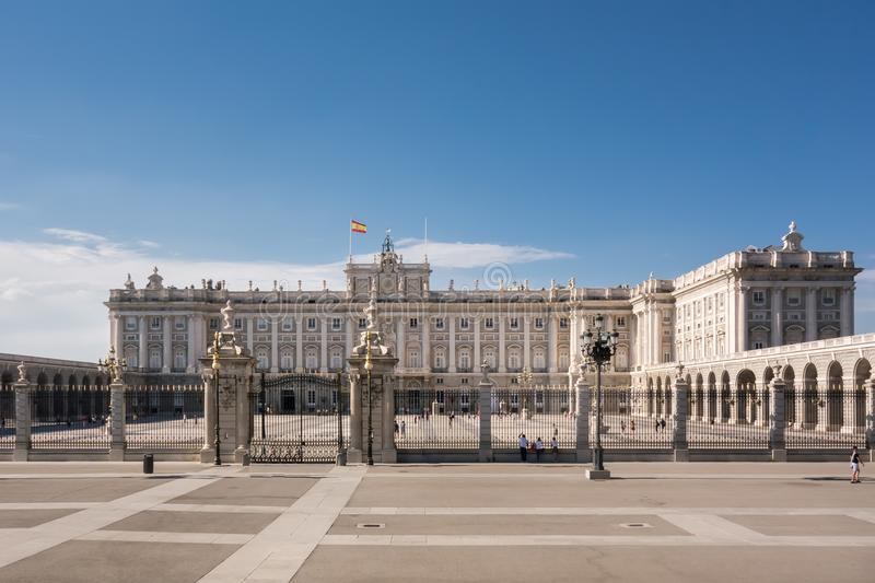 Royal Palace in Madrid Spain in a beautiful summer day. royalty free stock photo