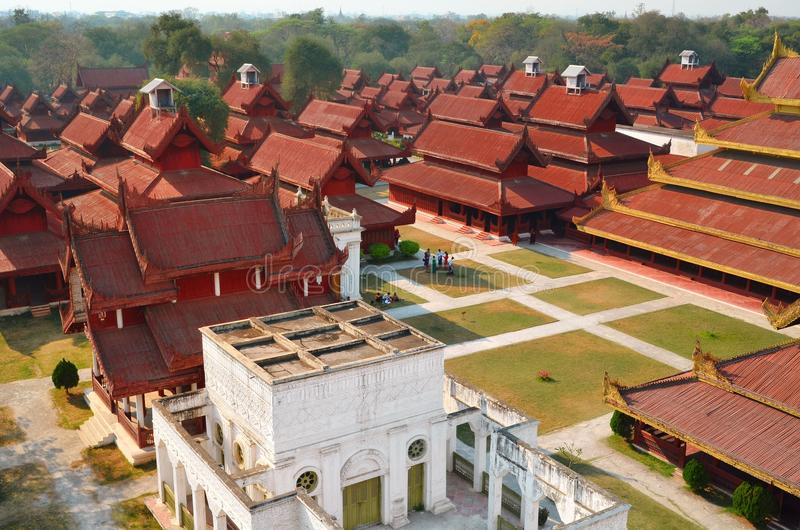 The Royal Palace of Mandalay. In Myanmar royalty free stock images