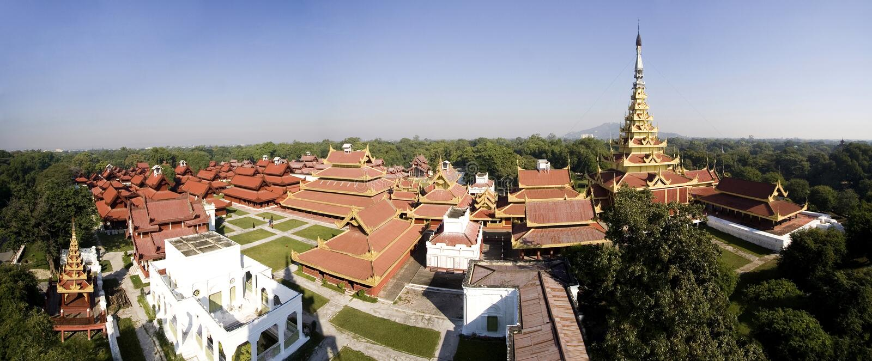 Royal Palace, Mandalay, visión panorámica foto de archivo