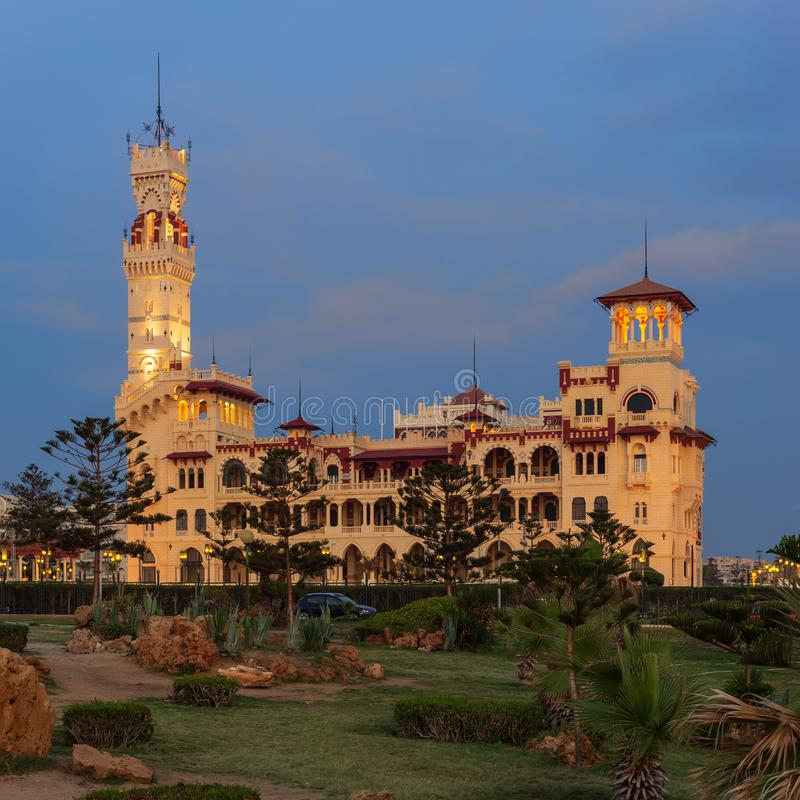 Royal palace at Montaza public park after sunset, Alexandria, Egypt stock images