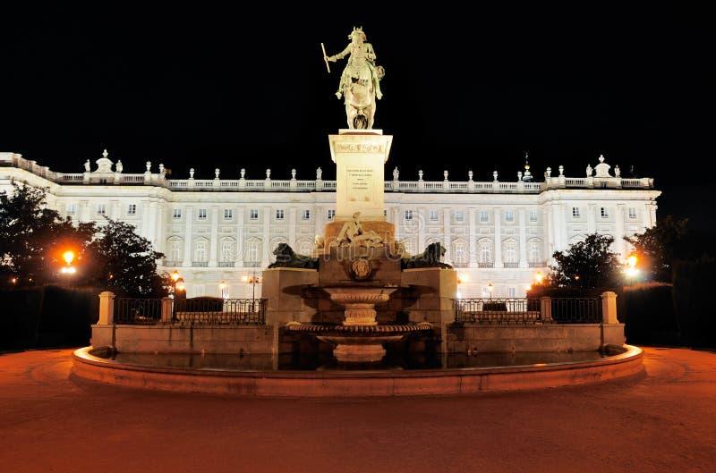 Royal Palace nocą, Madryt, Hiszpania fotografia stock