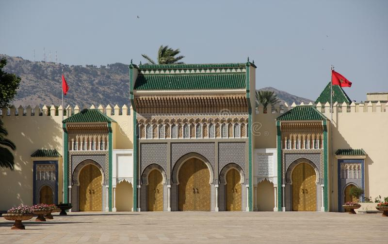 Royal Palace. The ornate facade of the Royal Palace in Fez, Morocco stock photo
