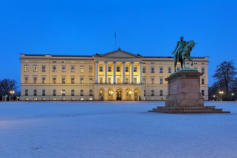Royal Palace in Oslo in dusk, Norway stock photography