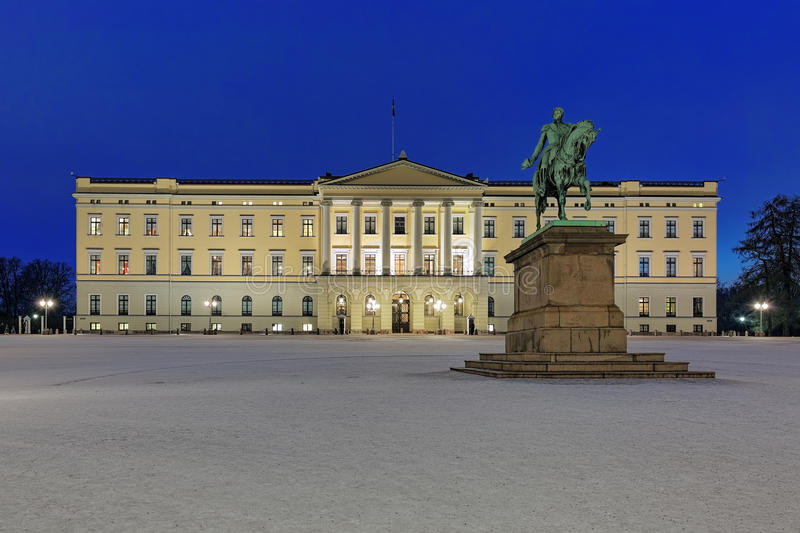 Royal Palace in Oslo in night, Norway stock image