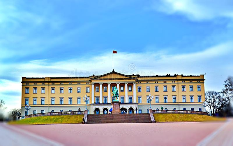 The Royal Palace in Oslo, Norway in the middle of the day - Spring 2017. The Royal Palace in Oslo was built in the first half of 19th century as the Norwgian royalty free stock photos