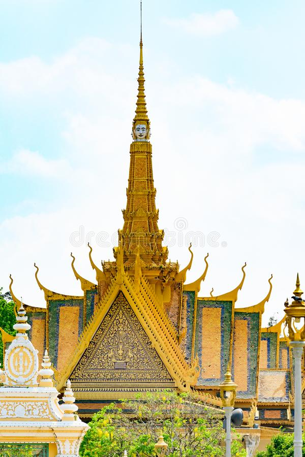Tower of Throne Hall, Royal Palace, Phnom Penh, Cambodia. Tower with extraordinary faces, Throne Hall of King of Cambodia. royalty free stock photography