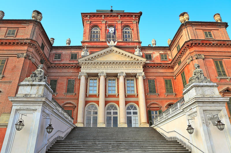 Royal palace in Racconigi, Italy. The Royal House of Savoy palace located in town of Racconigi, Italy (exterior view stock photo