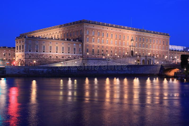 Royal palace in Stockholm. At night, Sweden stock photography