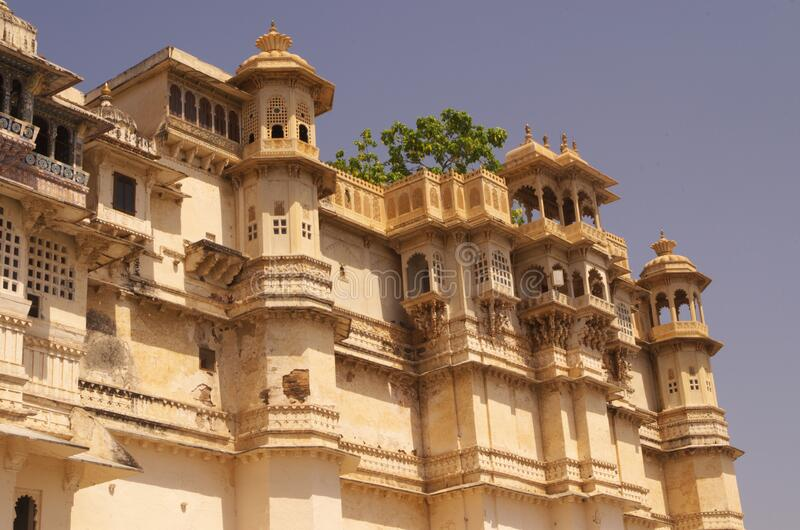 Royal palace of Udaipur front view-2 stock photography
