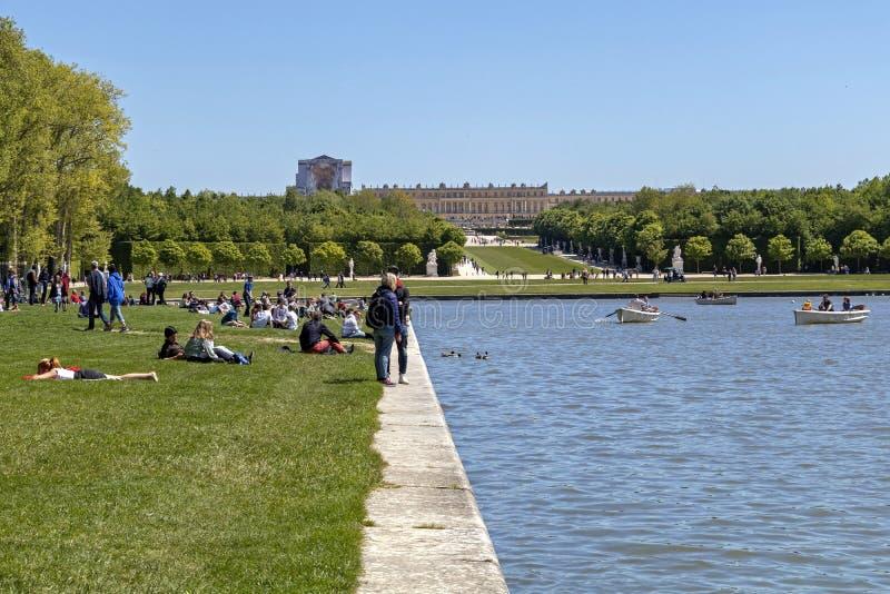 Royal Palace van Versailles, de historische monument en Unesco-plaats van de Werelderfenis stock fotografie