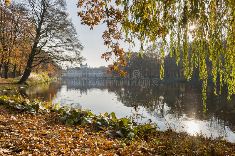 Royal Palace on the Water in Lazienki Park, Warsaw. During autumn time stock photo