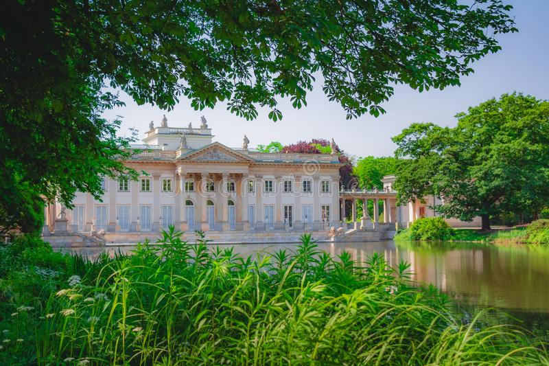 Royal Palace on the Water in Lazienki Park at Warsaw Poland stock image