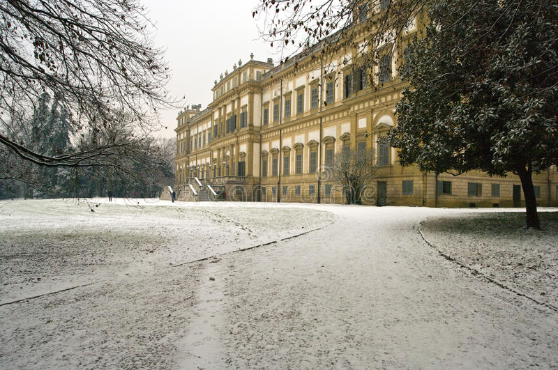 Royal palace in winter royalty free stock photography