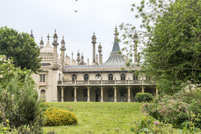 Royal Brighton Pavilion, UK. The Royal Pavilion and gardens in Brighton, East Sussex, UK stock image