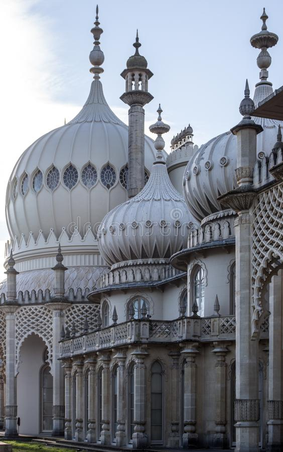 Royal pavillion Brighton East Sussex. Beautiful side view of the Royal Pavillion in Brighton Est Sussex in a sunny day of Autumn royalty free stock photos