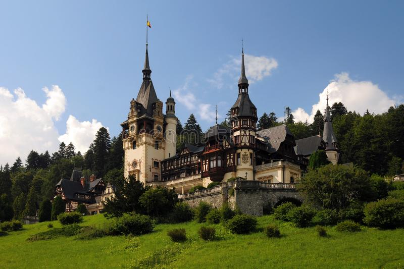 Royal Peles Castle. In Sinaia, Romania, in the summertime royalty free stock images